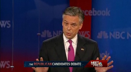 "Huntsman on working for Obama: ""I will always put my country first."" …Mitt's response: Do that by working under conservative principles. Huntsman's response: ""This nation is divided because of attitudes like that."" Regarding non-superficial stuff: Huntsman had trouble answering David Gregory's question of three programs to cut. But he supported the Ryan plan. EDIT: Sorry, we messed this one up. Thanks to Aheram for pointing it out."