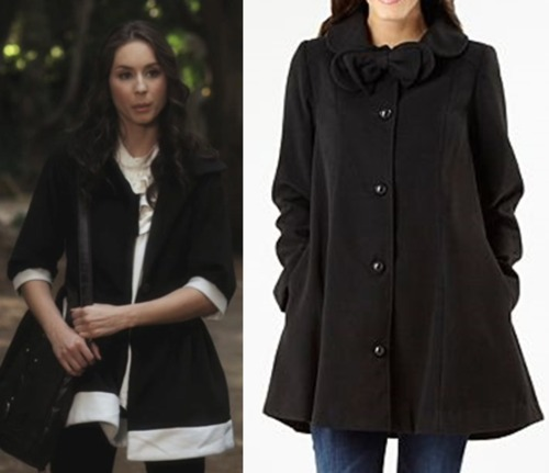 Spencers swing coat is a must have staple for winter. Although it's extremely hard to find one with the white trim like hers, i did find this extremely cute swing coat with bow detailing (im a sucker for bows!) If it was me, i'd be heading to my nearest fabric store, buying some white material and adding my own white trim! You could have a Spencer-esque coat too for less than $70ish dollars (depending on which fabric you buy)  Under $100 Swing Coat:  Black Swing Bow Coat - $52.82