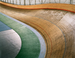 Photo inside a velodrome. Great colours.