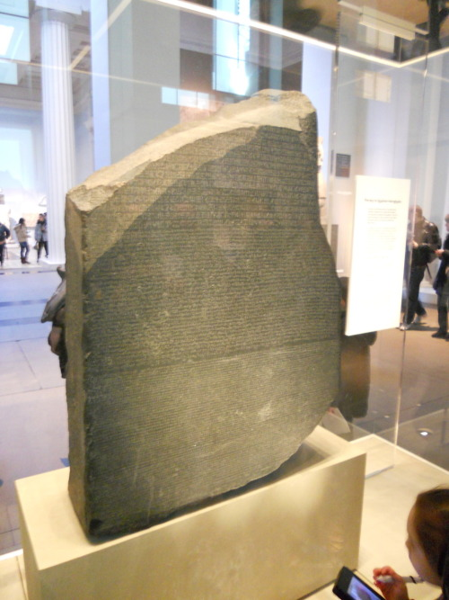 Funny story, you'd think the Rosetta Stone would be the first thing you go to upon arriving at the British Museum and heading to the Egyptian wing. And in fact, when you walk through the doors, it's right there. However, I was doing my classic wonderment thing where I look up! I look around! I can't stop spinning around! and we completely missed the Rosetta Stone. We were about to move on to the Greek exhibit when we remembered that we were missing it. Luckily Jennifer spent a year in the UK a couple years back and could help us find it again haha. It's really amazing how important this one largish rock is.
