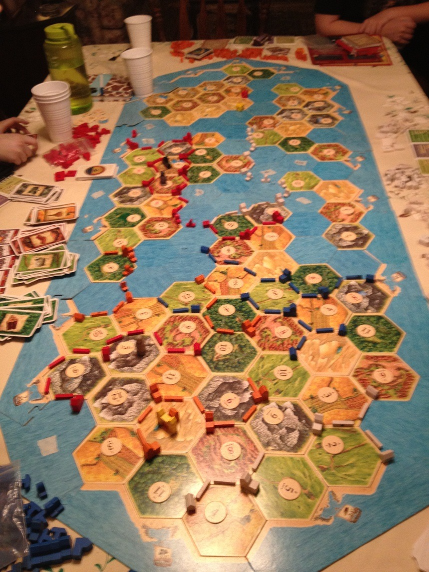 kirakirakatto:  giant catan that me and my friends constructed yesterday using 6 or 7 different expansion packs :)