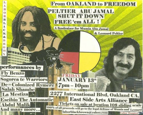 The next Dregs One show… a benefit in Oakland for Mumia Abu-Jamal and Leanord Peltier. If you don't know about these two political prisoners, you should definitely learn. Come through to the show and support the cause!