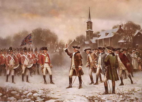 Minutemen confronting the British.