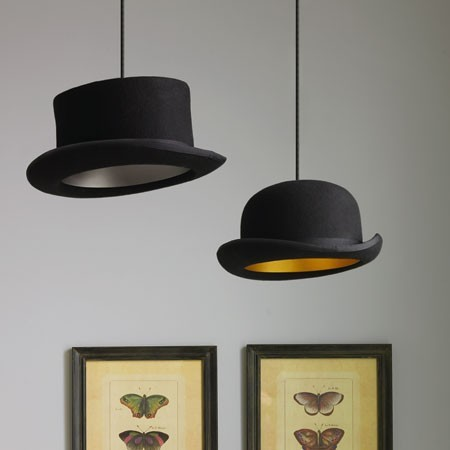 unconsumption:  Another bright DIY idea: Use lamp cord kits to turn old hats into pendant lamps. (spotted on Pinterest, via Dana Pugh) Cautionary note (stating the obvious, but still) for anyone making pendant lamps: To help prevent potential overheating when lamps are turned on, be sure to leave some air space around the top of the socket and the lamp shade, and ensure that the bulb and shade won't touch.