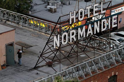 Hotel Normandie in L.A.'s Koreatown to get $5-million makeover: The inn's new owner plans to turn the 1928 building with a checkered past into a 100-room boutique hotel for travelers who want to stay in the middle of town. Photo:   Hotel Normandie is a squat brick structure built in 1928 at Normandie Avenue and Sixth Street in L.A.'s Koreatown. Credit: Arkasha Stevenson / Los Angeles Times
