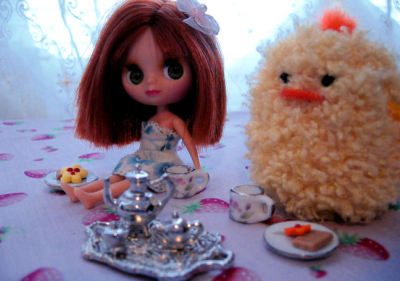Tabitha and I are having a tea party. Tea parties are Pudgy's favourite! Today it is Earl Grey with cookies. Take a good look, because this stuff is awesome and you're all going to be jealous of it forever.