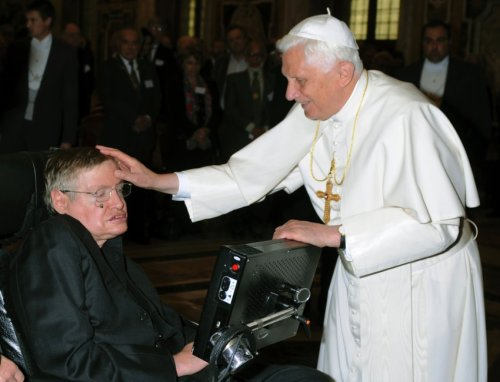 ejacutastic:  the pope petting stephen hawking
