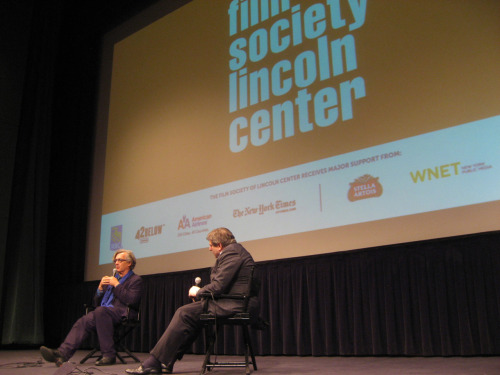 "Wim Wenders and Film Society of Lincoln Center's Richard Pena after a screening of ""Pina"" at Walter Reade Theater on 1/7/12."