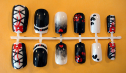 GIVEAWAY TIME - WEEK ONE Here is a gothic lolita-ish style nail set! The rules are as follows!: ONE LIKE = ONE TICKET  ONE REBLOG = ONE TICKET  FOLLOW  = ONE TICKET  THREE POSSIBLE CHANCES TO WIN TOTAL! (No multiples, sorry!) Winner announced on 1.15.2012!