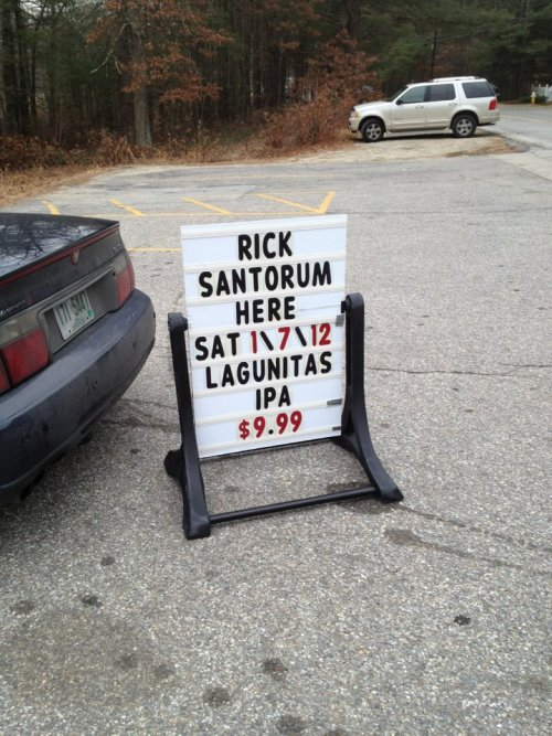 Great deal on beer! Also, Santorum. Photo by David Schultz, American Observer.