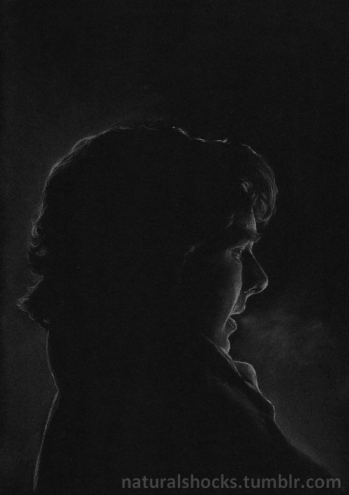 naturalshocks:  Quite possibly the most overused Sherlock screencap ever, but I don't care. White coloured pencil & grey pastel pencil on A4 black paper.