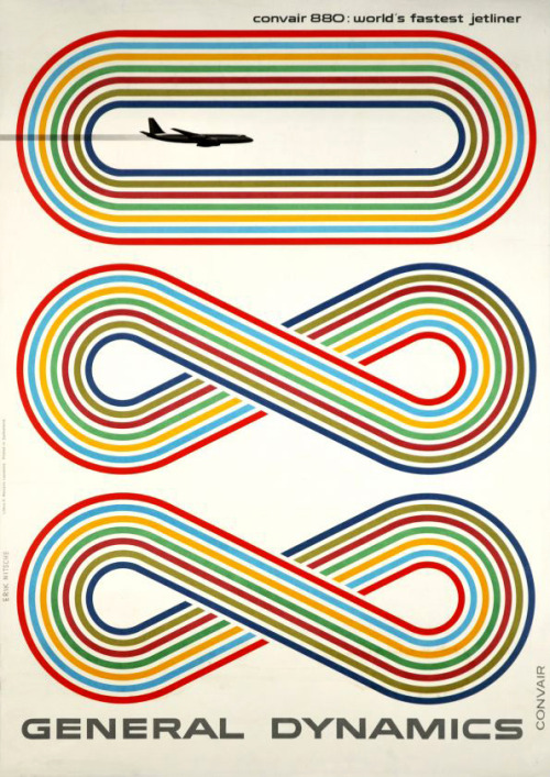 teaim:  General Dynamics Convair 880 poster designed by Eric Nitsche in 1959. via numberoftheday, Grain Edit & Vangobot