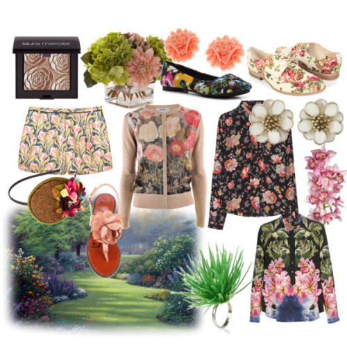 "Do you like floral prints? Personally they remind me of spring, which I am really looking forward to!         Blooming garden by csefylillus featuring antique hair accessories Stella McCartney long sleeve top, £665Rodarte floral top, $649Cardigan, €170Jason Wu floral shorts, $795Rocket Dog multicolor shoes, $35Lanvin ankle tie sandals, £264Forever 21 pointy toe shoes, $25Ring, €881928 flower jewelry, £11Antique hair accessory, $47John-Richard Collection Pale Pink & Green Faux-Floral Arrangement, $250Amazon.com: Lucite Cabochons ""Coral"" 3-D Floral Bouquet Flowers 19mm…, $1.99"