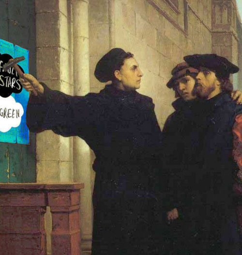 fishingboatproceeds:  Martin Luther nails The Fault in Our Stars to the door of the Castle Church of Wittenburg.