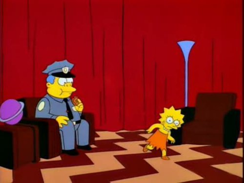 Ha, The Simpsons and a Twin Peaks allusion? Brilliant.