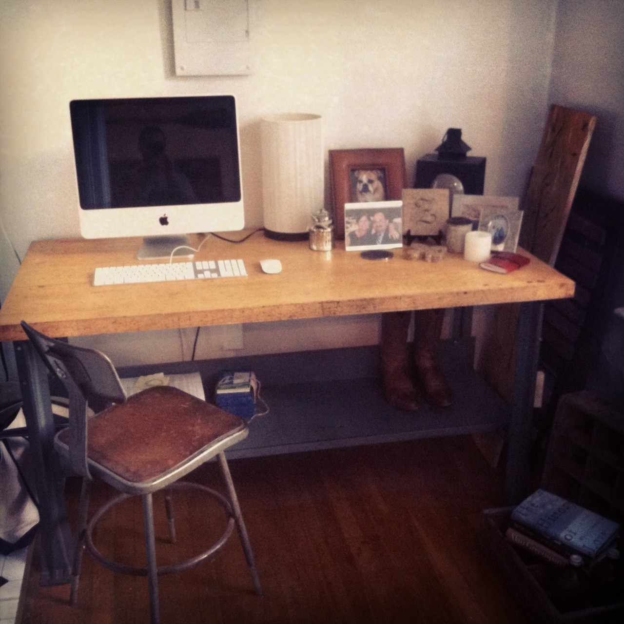 My new computer desk. Butcher block on industrial base from GoodWood, which is now on Facebook.