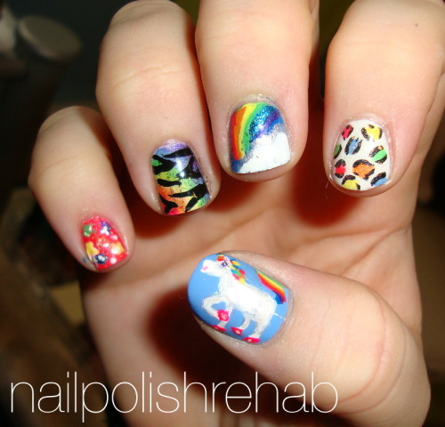 Day 9 - Rainbow Nails Lisa Frank inspired :) Click the link/photo for more pictures!