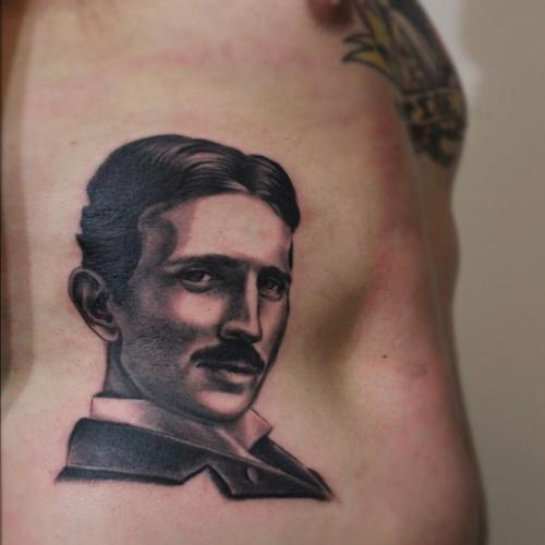 givemethedetonator: Tattoo by Patrick McDonagh at The Collective  Toledo, OH.  I'm so excited for the Nikola Tesla piece I'm getting done in April. At long last.