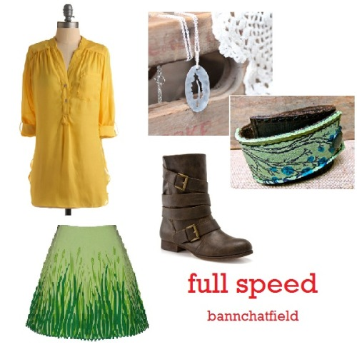 123 [bannchatfield] Full Speed Pam Breeze-ly Top in Yellow - $34.99 Meadow Skirt in Green - $62.00 Zigi Solo Sylvy Boot - $59.95 Floating in the Breeze Silver Indie Necklace - $36.99 Leather Cuff Wrap Bracelet - $27.50