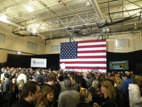 The crowd before a Mitt Romney rally featuring New Jersey Gov. Chris Christie at Exeter High School in Exeter, NH Sunday. Photo by Rhys Heyden, American Observer.