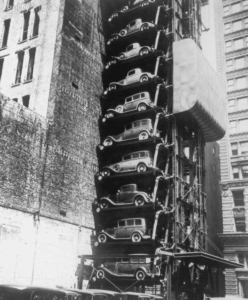 aplanetaryshift:  Vintage vertical parking lot.  1920s.