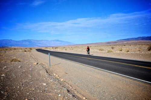 Lone biker in Death Valley. Well…. that is until a ran into a few more later. When I was there in December, the day time temperature was in the 70s, not the hellish  condition you would imagine.
