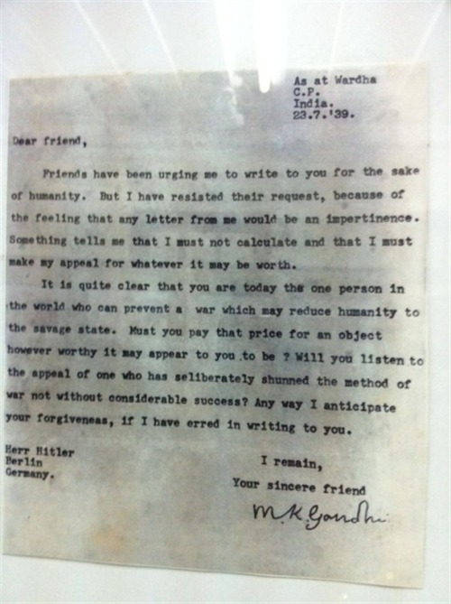 brothersforcenturies:  Letter From Gandhi to Hitler.