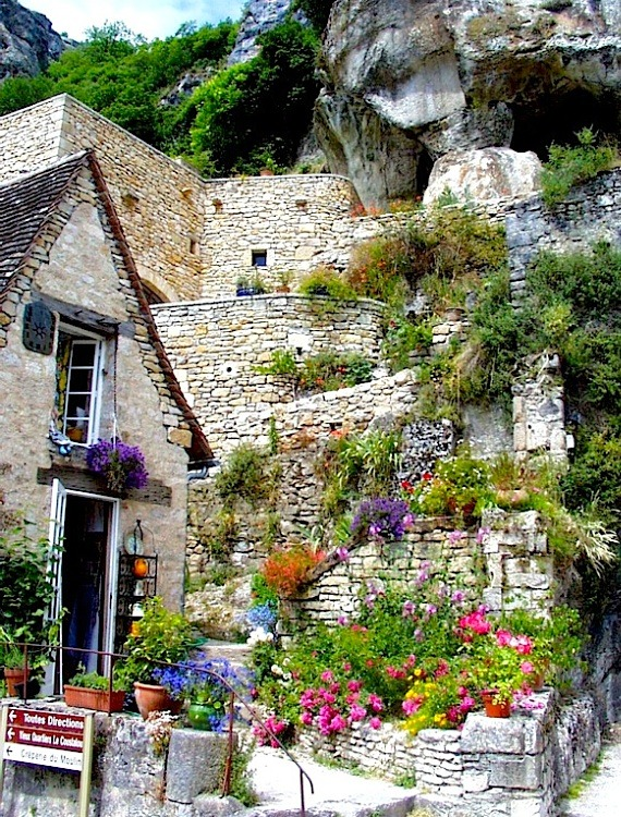 | ♕ |  Garden of cliff-hanging village - Rocamadour  | by © Sanda Kaufman