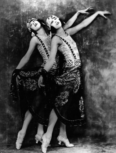 Two young women who perform in a cabaret at the Piccadilly Hotel c.1925 They almost look like the Dolly Sisters