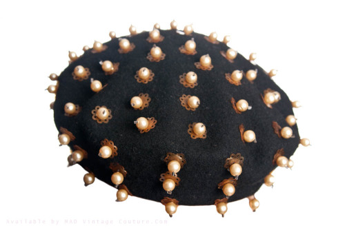 Vive le Sputnik!  1960s French Beret with Pearl Accents.. available here…