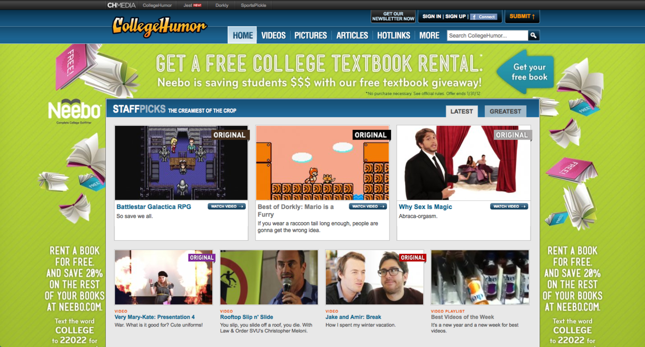 Check out Neebo's CollegeHumor.com takeover.