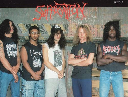 This photo is awesome. Suffocation circa early 90's I would say. Mike Smiths hair is gold and Frank is ridiculously skinny.