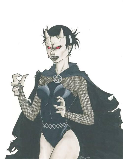 thehappysorceress:  Black Alice as Estrogan by Jackie Santiago Magic Monday    And here's another…wow!  Here's a secret about me, I HATE PUNS. I hate them, I think they are one of the lowest forms of humor, despite the fact that people as diverse as Peter David and Alfred Hitchcock seem to adore them. They grate on me like sliding down a cactus. But…well, she needed to do the Etrigan rhyme, and the 'Estrogan' name came to me and I just couldn't resist it. I might have hated myself for doing it, but I still think it's funny. :)
