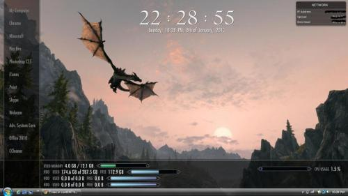 This is my custom made desktop, inspired by Elder Scrolls V: Skyrim (my all-time favorite video game, and in my opinion, one of the greatest games ever made.) Took me quite a while to do, considering I've never worked with rainmeter, let alone edit .ini files. So needless to say, I'm pretty proud of this.  The menus and data bars are designed to replicate the menus and bars in the game.  The skin was made with Rainmeterand the awesome screenshot I used for the wallpaper can be found on this gentleman's website. Let me know what you guys think of my hard work!
