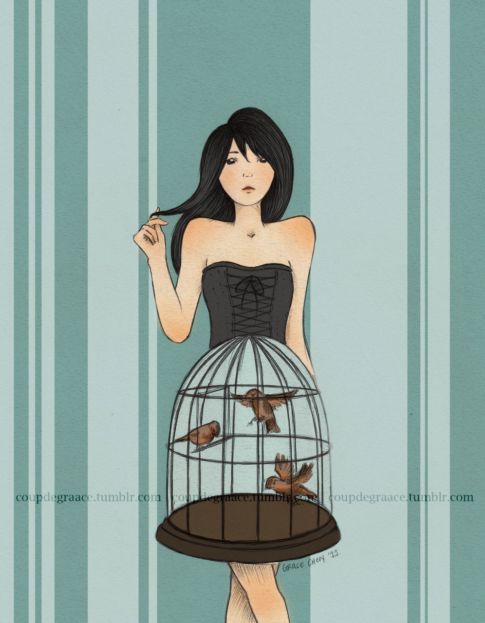 She Encaged Them I kind of liked this better back when it was a sketch; oh well, I'm satisfied with it for now. I'm free to take suggestions to improve this, so feel free to reply to this post with anything. :0 On an unrelated note, I wish school started already. The semester doesn't start until the 25th and I'm bored out of my mind at home. </3 Ball point pen and Photoshop