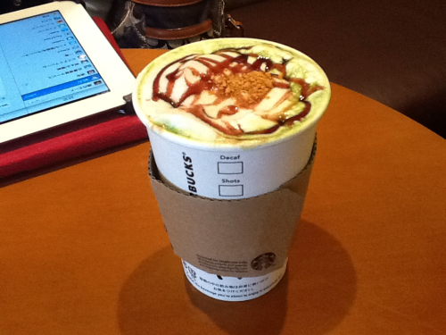Azuki matcha latte… Although I'm pretty sure it's only sold in Japan because it's a seasonal drink, if you ever have the opportunity to try it out, DO NOT TRY IT.  Ick. It looked pretty enough, but the flavor was gross, to put it bluntly. Yeah, sticking with normal matcha latte from now on…