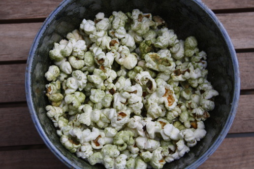 Matcha and Cornish sea salt popcorn  This healthy and luscious snack is perfect to help you beat the 4pm slump. Light, crunchy popcorn combined with the goodness of matcha and a touch of pure, natural Cornish sea salt.  Mix one teaspoon of Cornish sea salt and one teaspoon of matcha in a small bowl.  Heat up some vegetable oil in a pan on medium-high heat. Add just three or four popcorn kernels and cover with a lid. Once they pop, add the desired quantity of popcorn kernels and remove from the heat. After half a minute, return the pan to the heat. The kernels will start popping at the same time. Keep shaking the pan gently. Leave the kernels until the popping slows down. Put your popcorn in a big bowl. Season with the matcha and sea salt mixture to taste, until the popcorn is coated evenly. Enjoy!