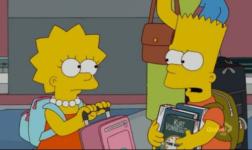 "From the newest episode, Bart asking Lisa if she really needs all this Kurt Vonnegut.   Lisa: ""They self-reference each other!"" Submitted by eatingoutinlondontown"