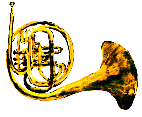 french horn. markers/watercolors/multimedia. brendan garbee