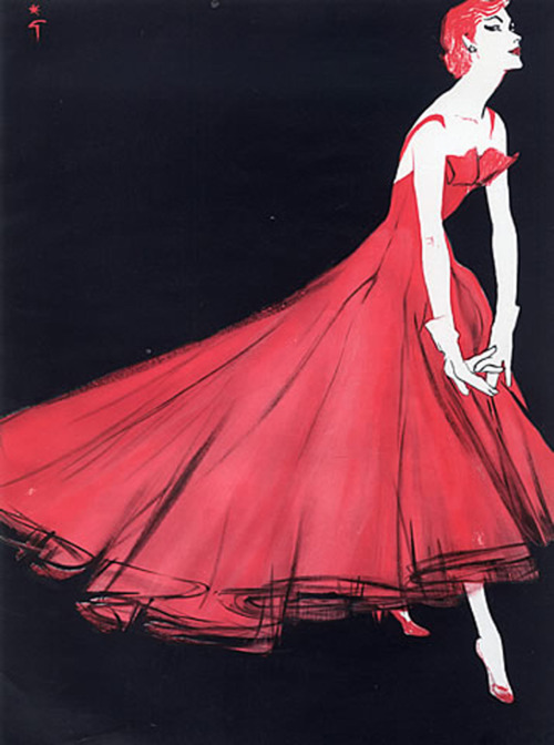 Want.  hollyhocksandtulips:  Lanvin Castillo evening gown, 1955 Illustration by Rene Gruau