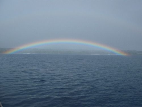 Rainbow on the water. Sailing through Vanuatu, September 2011. Marsha Book