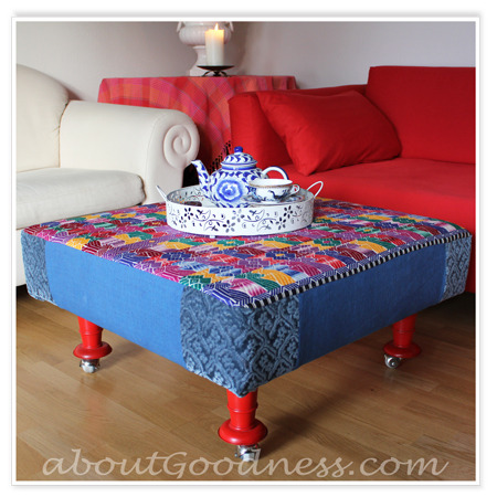 (via How To Make Coffee Table Ottoman: DIY Tutorial | aboutGoodness.com)