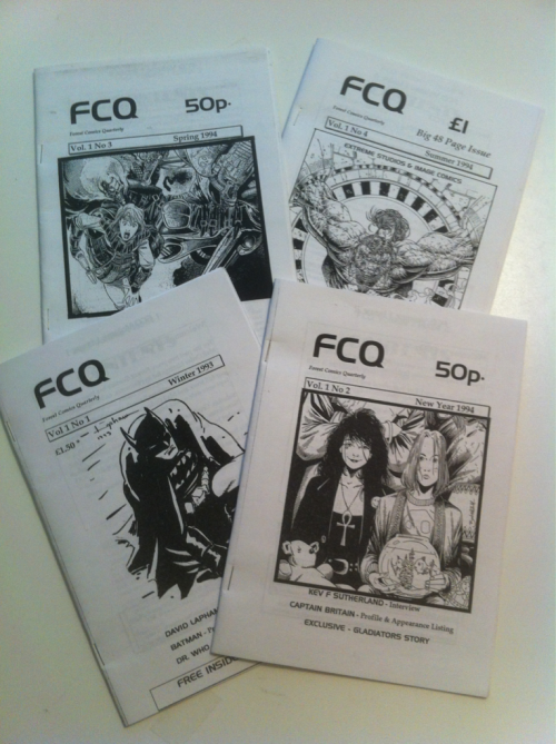 FCQ - My first foray into comics journalism and self publishing from back in 1993/94. Came across these file copies of each issue while sorting through some stuff. The small A5 sized magazine started out as 24 page wrap around for the catalog listing for Forest Comics my mail-order comics retail business at the time. It quickly became a quarterly magazine (FCQ = Forest Comics Quarterly) in its own right sold in various comics and computer gaming stores in the west of England.   During its brief run FCQ included interviews with creators such as David Lapham, Kevin Sutherland, Mark Buckingham, and Warren Ellis.