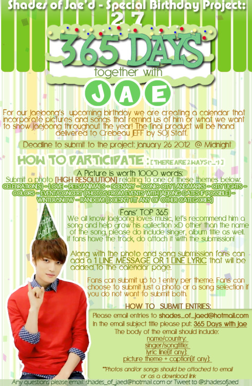 "Shades of Jae'd Birthday Project for Kim Jaejoong -""365 Days with Jae / 재와함께한 365일"" details on the poster!everyone, please do participate! ^^"