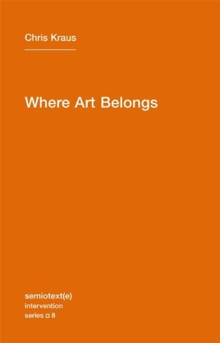 "Just finished reading: Where Art Belongs by Chris Kraus, 2011.  For once, I found myself comforted by the words of a fellow art writer. Instead of coming off as pretentious or intimidating, Kraus's writing is real—accessible, conversational. It's poetic and simple, lacking all the convoluted language of art historians and critics. Although she mentions the greats—Debord, Benjamin, Baudrillard, Deleuze and Guattari—she doesn't namedrop them; she makes them exoteric, exciting again. In one chapter, she voices a subtle lament against the current situation of art writers. The setting is September 2009 at Greene Naftali gallery in Chelsea. An artist collective, Bernadette Corporation, has produced an exhibition entitled The Complete Poem. It includes a series of black and white fashion photographs advertising an unidentified project and a 130-plus page epic poem entitled A Billion and Change that caused a bit of a stir in the poet community.  ""Displayed in a series of 13 custom-built vitrines, Bernadette Corporation's epic poem filled the gallery. […] But as it turned out, the insertion of poetry, displayed like a work of visual art in a gallery space, was deeply disturbing to most. For years writers have played a circumscribed role in the visual art world. Our job is to write about art; to give it a language that translates into value. Perhaps the only paid, nonteaching job now for poets and nonmainstream American writers is churning out art reviews and catalogue essays for high-profile museum and gallery shows. In the 21st century, art writing plays the same role as magazine fiction did for mid-20th century writers like Philip K. Dick and Chester Himes. It offers a badly paid livelihood. As [poet] Eileen Myles said, 'The old exchange has always been poets writing about artists. And that was always contingent on the poet being interested in the artist's production, and the marketplace bringing them together.'   ""Audaciously, Bernadette Corporation insisted on treating the 130-plus pages of A Billion and Change as an original artwork. No press copies, no posting online, no Xeroxed handouts. As [one of the members of the collective] John Kesley recalls, 'Some of our most politically correct friends were outraged that we weren't passing the poem out for free or putting it online. And artist friends basically say, 'art should be for sale, writing should be for free.' It's crazy how this conventional distribution of labor and value persists, even among smart people. As a sometime art writer who gets paid shit for labor, this may be a sore point for me, that text backs up and explains the art, but should not share the value of art. Not that the poem was all about this… but it was a real point of contention that arose during our show… poetry should be free.' [pp53-55]  In another chapter, Indelible Video, Kraus discusses the effects of the prevalence of video art: ""The complete ubiquity of video and other digital forms within contemporary art has rendered discussion about it, as a medium, obsolete. There is no longer anything singular about video. Images are everywhere. To attempt any one definition of video would be as meaningless as asking 'what is contemporary art?' All art now is conceptual, defined by its stance in relation to other art and its place in the market. It would be more fruitful and interesting at this point to ask how an image transcends other images, or even more to the point: How can the market be used to do what art used to do? Baudrillard describes the incursion of images into every sector of life. Striving for emptiness when it is already empty, visual art has become transaesthetic. Like pornography, art no longer exists because it is virtually everywhere. Naïve to complain that the market has vanquished contemporary art, rather, it's the 'DEGREE XEROX OF CULTURE,' the transcription of everything into visual signs, that has voided art practice. The only aim of the image is the image, Baudrillard writes. Endlessly solipsistic, an image can no longer imagine the real because it is the real."" [pp119-120] In the last little nugget I'll leave you with, she discusses the general condition of boredom in art:  ""It is possible for for someone to be highly intelligent, and yet have no information. This condition—usually associated with youth or prolonged adolescence—results often in boredom, the existential progenitor of nearly every significant art and cultural movement. […] Boredom, a brililiant and brazen stupidity, is dazzlingly preemptive. When the bored youth is no longer young, he/she generally enacts his/her own early demise, or devotes him/her-self to acquiring information. Specificity preempts boredom. Like the incandescence of pop, boredom cannot be sustained indefinitely. The seduction of pop is to render everything nascent, just on the verge of becoming. […] Boredom is pop's weighted corollary, but it can't be sustained once someone acquires an interest in details. […] Taglines of critical thought float in the vacuous space of the gallery, a passive-aggressive performance whose viewers define themselves through their responses."" [pp155-156] I received Kraus's book as a gift, and I doubt the giver knew what the text entailed. Its plain orange cover and bold assertion of a title made it seem like a manifesto, and perhaps it is… But unlike a manifesto, Kraus's book does not give the answer its title alludes to, it simply relates a handful of anecdotes about the specific artistic atmosphere the writer found herself in during the late 2000s: Los Angeles artist collectives, musician/artists, poet/artists, and galleries in flux. One has to wonder, then, about the title. Where does art belong? A meditative volume like this seems to suggest that although a particular work or show has come and gone from the gallery, it can live on in anecdotes, in the consciousness of those who bore witness to it. It can, and should. Perhaps we should stop ""reviewing"" art in the traditional sense, to cease assessing its value in relation to other art. I've always thought this to be a counterproductive task. Maybe it's the art historian in me, but I feel sometimes that current art writing lacks perspective: it is caught up in the details, too unremoved from the conditions of the present to be able to make meaningful reflections. In my professional art writing I avoid injecting too much opinion into a review. The thought behind that is not so much to allow the art to speak for itself—in this case, writing at all would be redundant—but rather to observe and report, to allow readers who did not attend the exhibition in person to see the works and form their own opinion. But in my personal art writing, I find myself much more inquisitive, open-ended, anecdotal, atmospheric. How to inject this into my professional writing… I found Kraus's descriptive, considered approach to be a fine model, and hope to read more of it."
