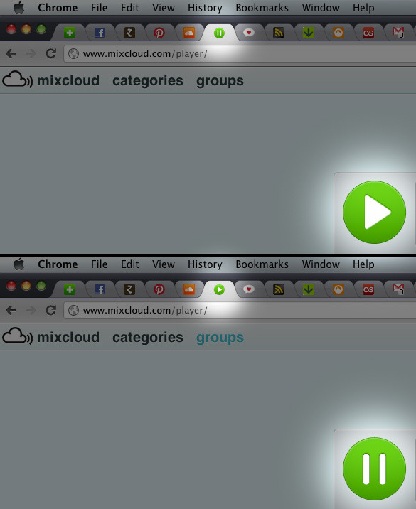 Mixcloud - The favicon indicates whether the music is playing or paused. /via Victor A. Leão