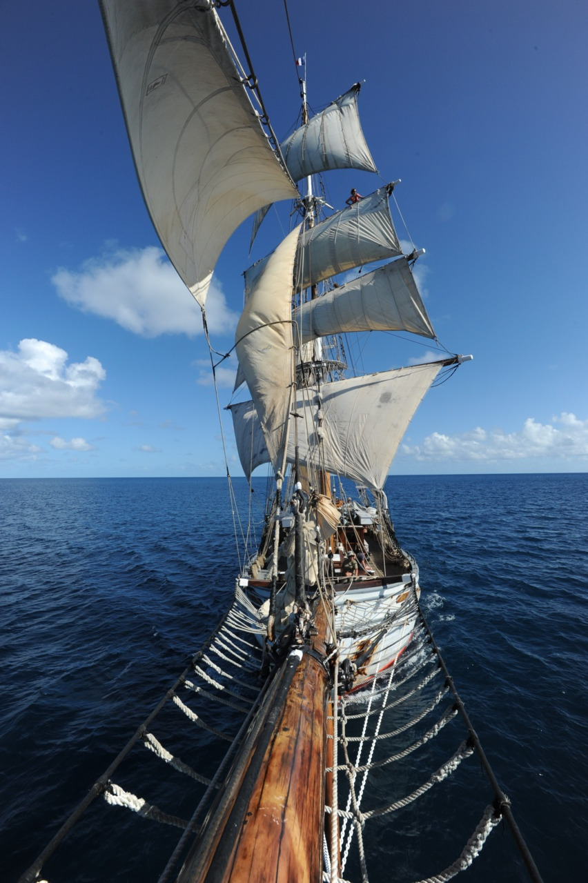 View from the Bowsprit aboard Soren Larsen (Brigantine) off New Caledonia, October 2011.