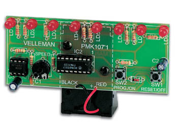 VELLEMAN KIT - MK107 Just ordered one of these Velleman kits. It's a running LED module based off of a 4015 dual 4 stage shift register and a 555 timer. This circuit can be easilly modified to work as an 8 step analogue sequencer. It's what I'll be using to sequence CASIO SA-20.  There's actually a really helpful here explaining how to do this project.