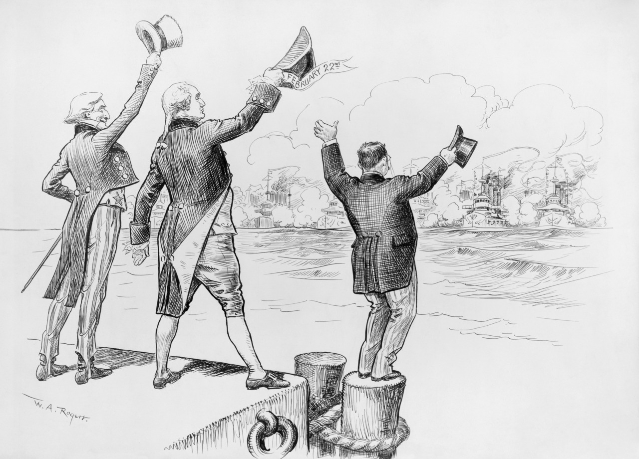 """Welcome home!"" - Political cartoon noting the return of the Great White Fleet to its home port at Hampton Roads, Virginia after a two year world tour, with caricatures of Uncle Sam, George Washington, and Theodore Roosevelt.  Pen and ink drawing, New York Herald, February 22, 1909. W. A. (William Allen) Rogers, 1854-1931, artist. Full resolution‎ (4,495 × 3,230 pixels)"