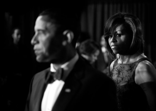clarajudgypants:  Michelle Obama in 2009 at the Congressional Black Caucus dinner in Washington. Photo credit: Damon Winter/The New York Times  Tomorrow: Jodi Kantor on The Obamas